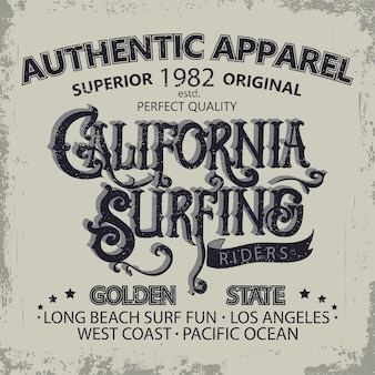 Surfing t-shirt graphic design. hand lettering california surfers wear typography emblem. creative design.