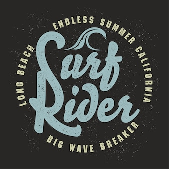 Графический дизайн футболки серфинга. серфинг гранж печать штамп. калифорнийские серферы носят эмблему типографии. креативный дизайн.