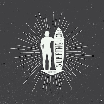 Surfing table with man silhouette