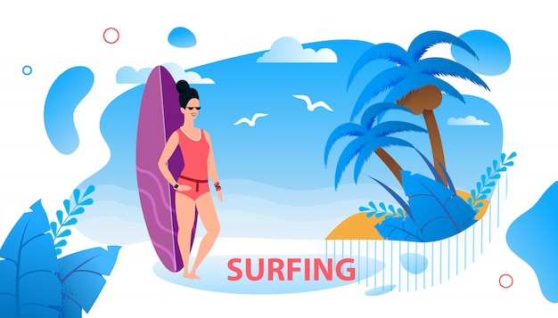 Surfing text advertising poster with cartoon female surfer