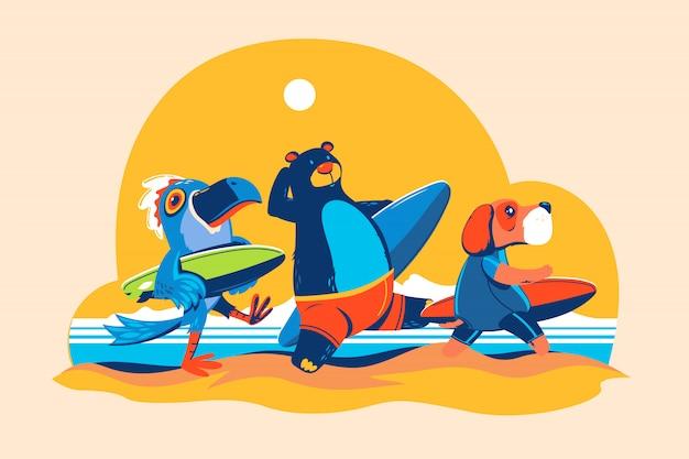 サーフィン時間。クマ、リオの鳥、犬がビーチでサーフィンに行く
