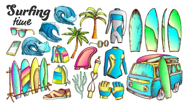 Surfing time collection elements color set