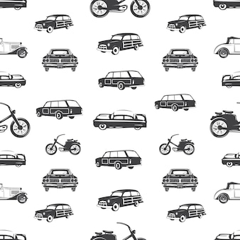Surfing transport seamless pattern. retro surf car, motorcycle wallpaper  in monochrome style