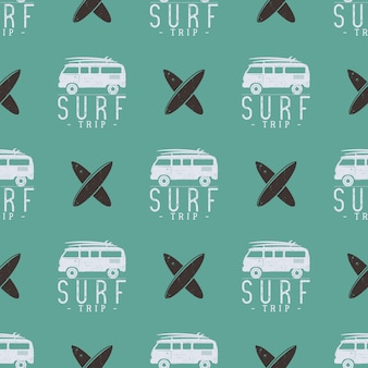 Surfing trip pattern design. summer seamless with surfer van, surfboards. monochrome combi car. vector illustration. use for fabric printing, web projects, t-shirts or tee designs. retro colors