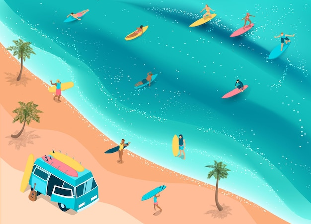 Surfing on a tropical beach isometric