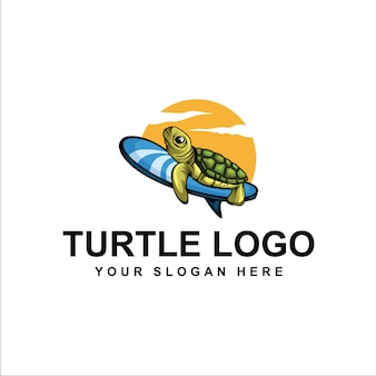 Surfing turtle logo