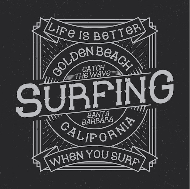 Surfing typography, t-shirt graphics, emblem and label design