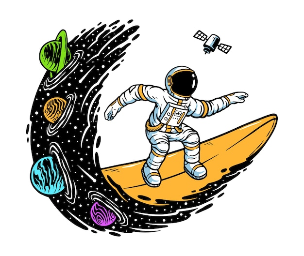 Surfing in the universe illustration
