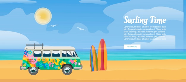 Surfing van on the sandy beach, surfboard,  sea waves and clear sunny day vector illustration. surf bus design for sport vacation with text template.