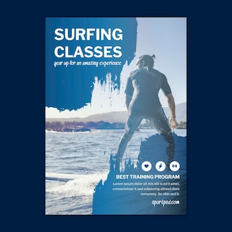 Surfing vertical poster template