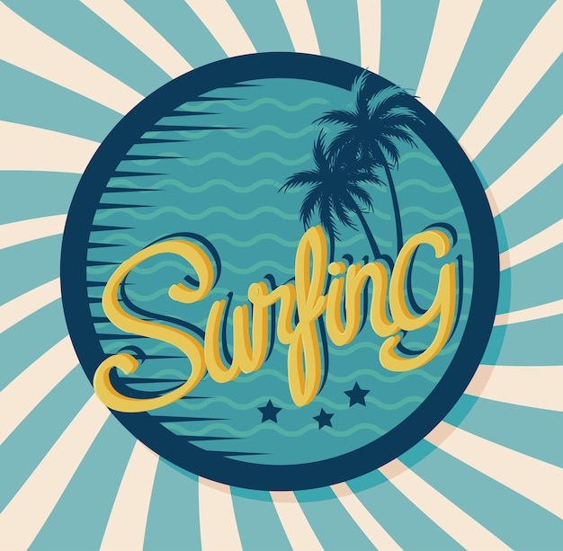 Surfing vintage banner with tree palms circular frame design
