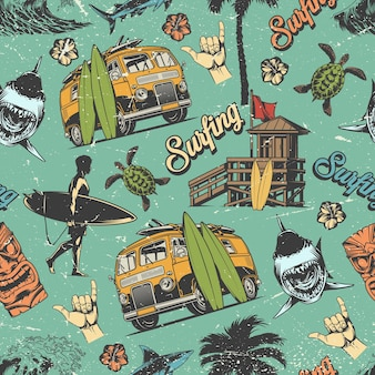 Surfing vintage colorful seamless pattern with surfer holding surfboard, wooden house, sharks and turtles