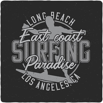 Surfing vintage label