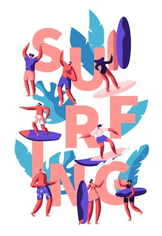 Surfing water activity concept illustration
