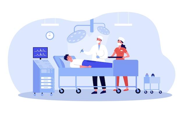 환자에 대한 외과 의사 및 보조원