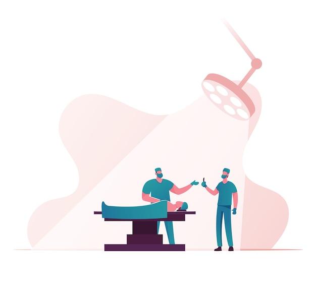 메스를 들고있는 외과 의사 캐릭터들이 병원의 수술실에서 침대에 누워있는 환자에게 수술을 준비합니다.