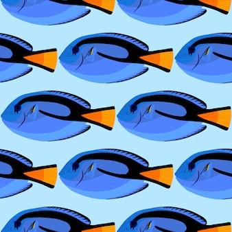 Surgeon fish seamless pattern. tropical ocean fish. paracanthurus hepatus. vector illustration