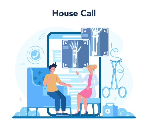 Surgeon online service or platform. doctor performing medical operations. professional medical specialist. house call. isolated vector illustration