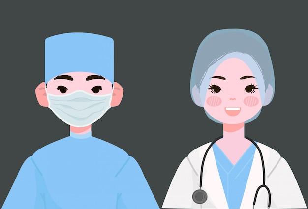外科医のベクトル図です。制服イラストの女性と男性の医師外科医。