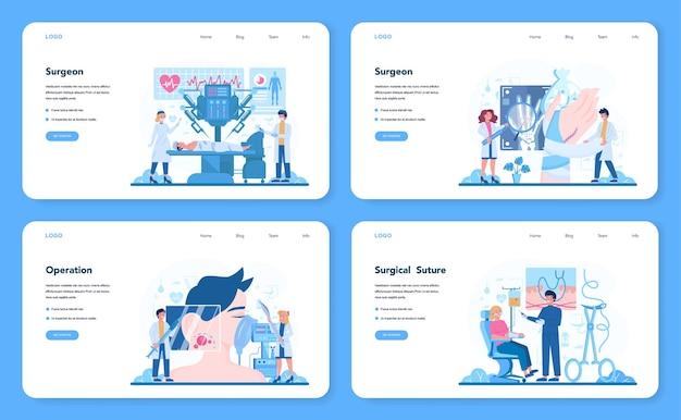 Surgeon web template or landing page set. doctor performing medical operations. professional medical specialist. idea of health and medical treatment.