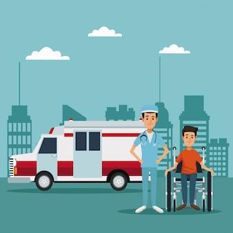 휠체어에 환자와 외과 의사