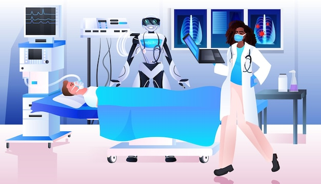Surgeon with robotic assistant making operation to patient lying on bed emergency medical treatment concept horizontal full length vector illustration