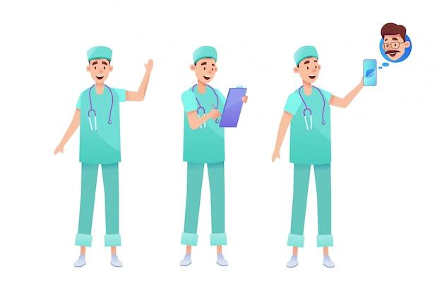 외과 의사와 의사 녹색 유니폼을 설정합니다. 청진 기, 클립 보드 전화 원격 진료와 남성 의료 전문가.