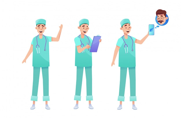 Surgeons and doctors in green uniform set. male medical specialist with stethoscope, clipboard talking phone telemedicine.