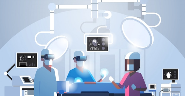 Surgeons team surrounding patient during operation table