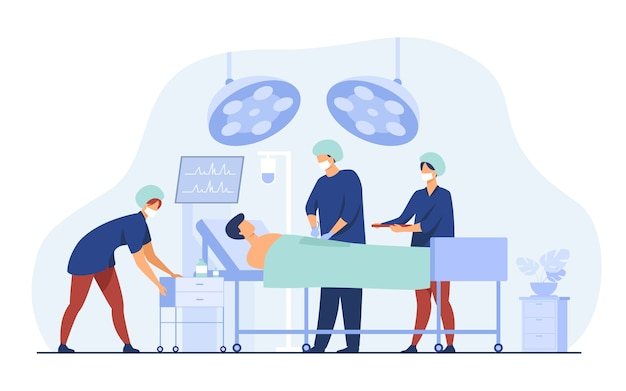Surgeons team surrounding patient on operation table flat vector illustration. cartoon medical workers preparing for surgery. medicine and technology concept
