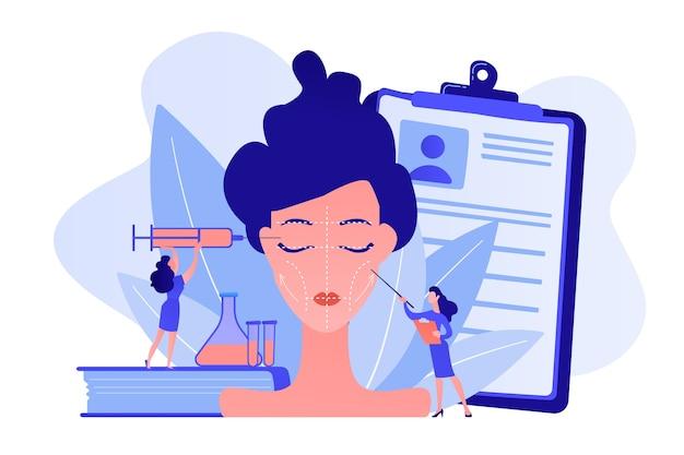여자에게 얼굴 윤곽 수술을하는 주사기와 외과 의사. 얼굴 윤곽, 의료 얼굴 조각, 얼굴 교정 수술 개념. 분홍빛이 도는 산호 bluevector 고립 된 그림