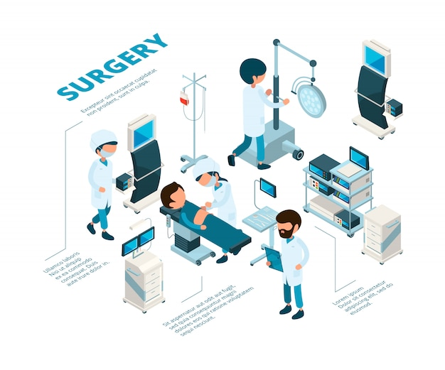 Surgeries isometric. medical staff surgeons work emergency therapy procedures healthcare room doctors making operation patient