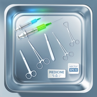 Surgery equipment concept with syringes scalpel forceps scissors in metal sterilizer isolated