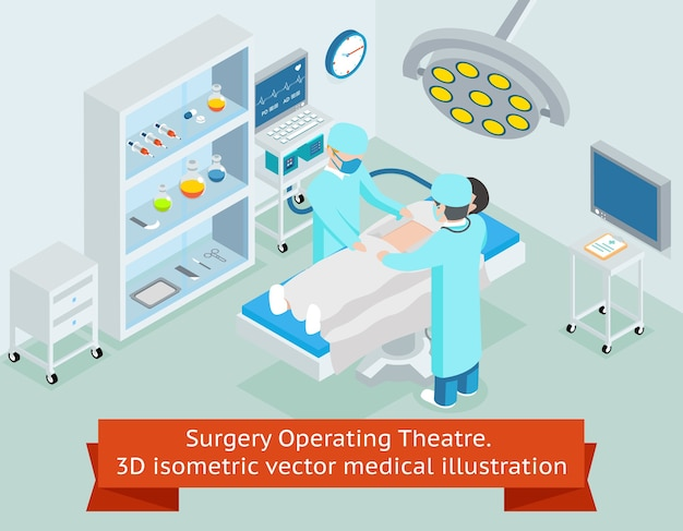 手術室。 3dアイソメトリック医療。病院での手順、外科医の医師、滅菌手術、外科医療