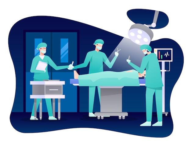 Иллюстрация процесса хирургии, врач делает операцию с помощью медсестры.