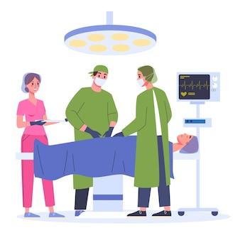 Процесс операции с медицинским персоналом операционной лампы и пациентом на столе.