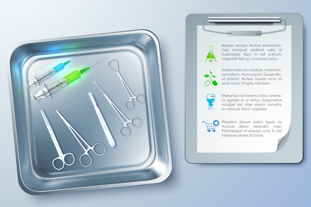 Surgery realistic with syringes forceps scalpel scissors in metal sterilizer and notepad illustration