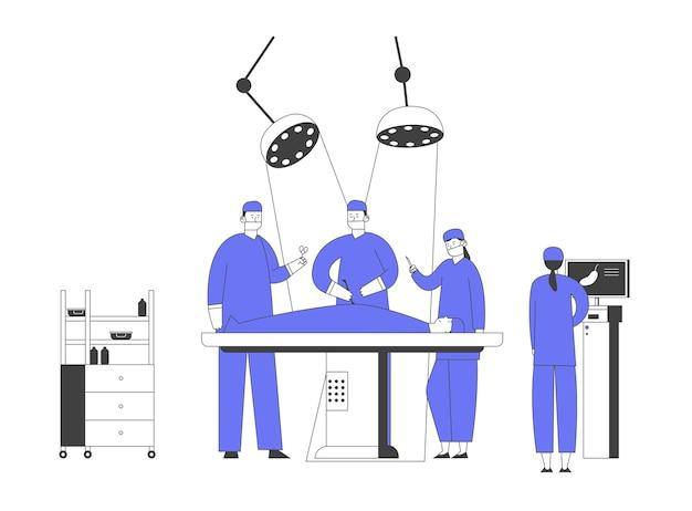 Операционная в больнице. хирург делает операцию пациенту, лежащему на кровати. медсестра контролирует процесс на мониторе с изображением желудка. неотложная медицинская помощь