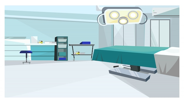 Surgery room with operating table with illustration