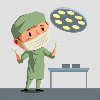手術スタッフは彼の操作ツールイラストを準備します