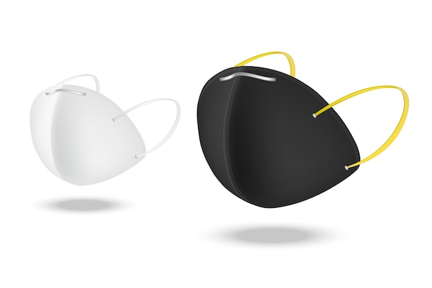 白い背景で隔離のサージカルフェイスマスクとウイルス対策。安全呼吸、ヘルスケアおよび医療コンセプトデザイン。
