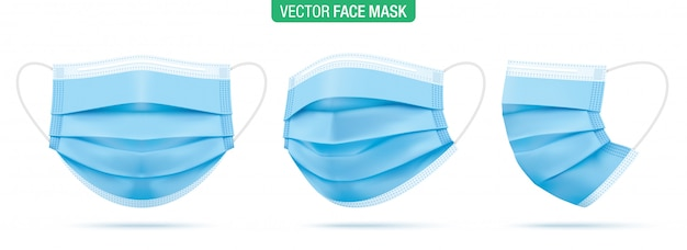 Surgical face mask,  illustration. blue medical protective masks, from different angles isolated on white. corona virus protection mask with ear loop, in a front, three-quarters, and side views.