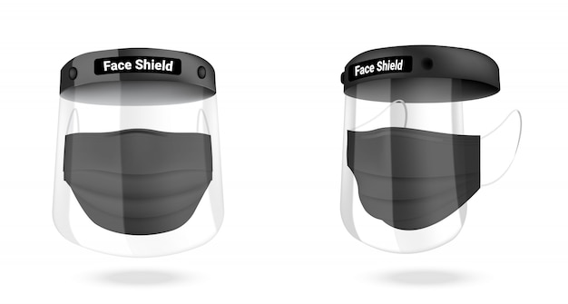 Surgical face shield mask and virus protection isolated. safety breathing,  health care and medical concept design.