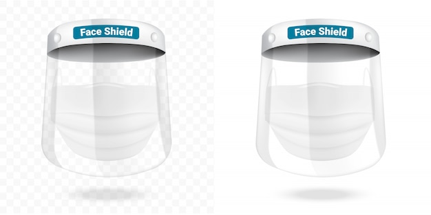 Surgical face shield mask and virus protection isolated . safety breathing,