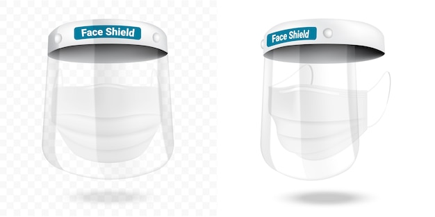 Surgical face shield mask and virus protection safety breathing,  health care and medical concept design.