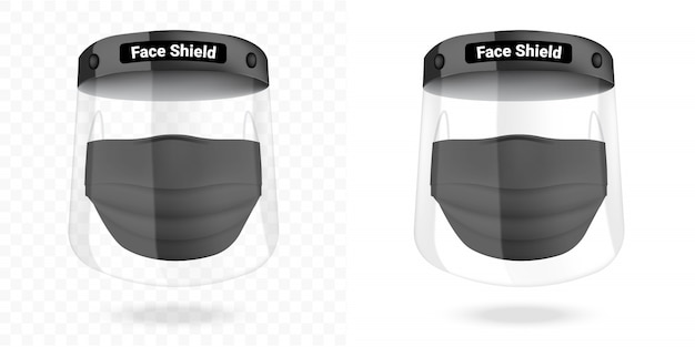 Surgical mask and transparent face shield virus protection isolated