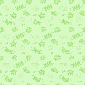 Surgical mask with airborne bacteria and virus particles hand drawn design seamless pattern.
