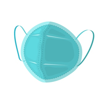 Surgical mask with rubber ear straps flat design