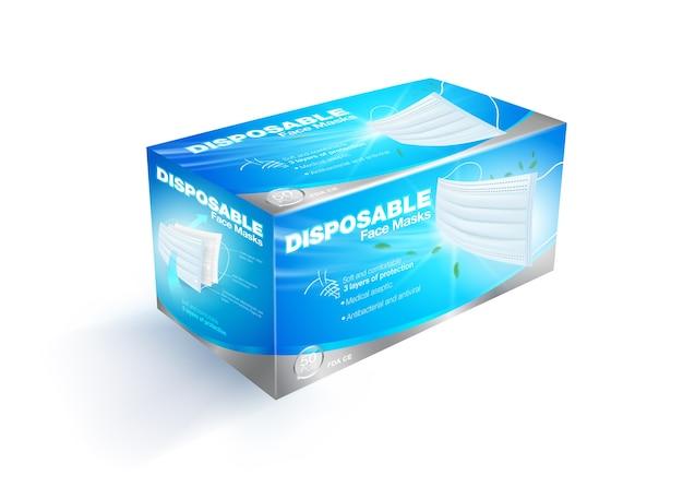 サージカル医療用フェイスマスクボックスのパッケージデザイン。