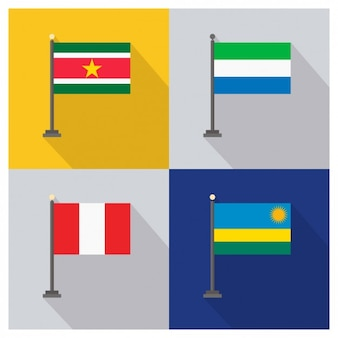 Surinam sierra leone peru and rwanda flags